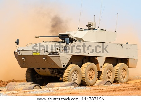 PRETORIA, SOUTH AFRICA -SEPT. 19: A Badger infantry fighting vehicle from Denel Land Systems seen during the African Aerospace & Defence show on Sept. 19, 2012 at AFB Waterkloof in Pretoria.