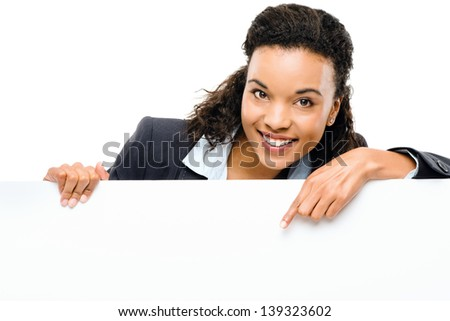 Pretty African American Businesswoman holding billboard isolated on white background