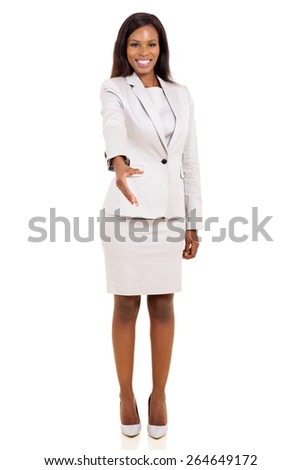 pretty african american businesswoman offering handshake - stock photo