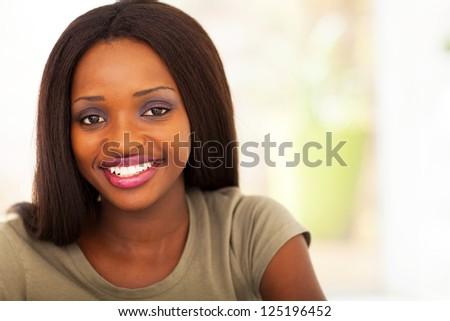 pretty African american college student headshot - stock photo