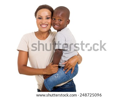 pretty african woman carrying her son isolated on white background