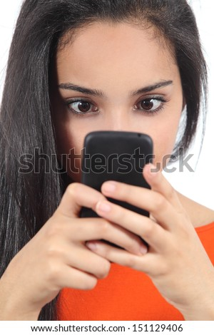 Pretty arab woman obsessed with her smartphone isolated on a white background - stock photo