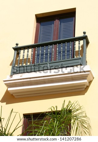 Pretty architecture with a balcony in San Juan, Puerto Rico - stock photo
