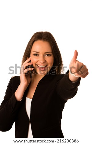 Pretty asian caucasian business woman gesturing success showing thumb up isolated over white - stock photo