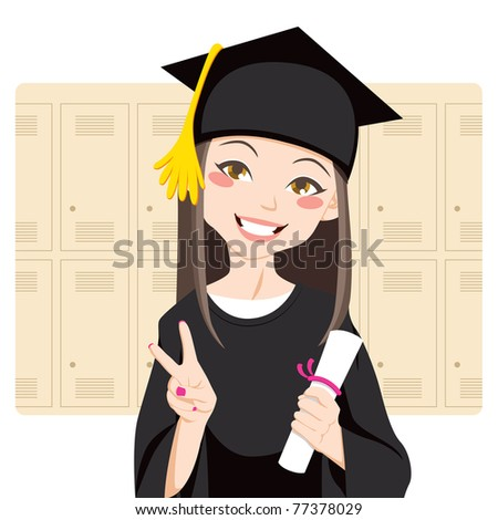 Pretty asian woman smiling in front of lockers holding diploma in her hand and making victory sign - stock photo