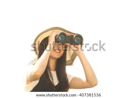 Pretty Asian young  woman seeking Binoculars .