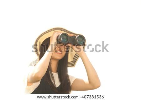 Pretty Asian young  woman seeking Binoculars . - stock photo