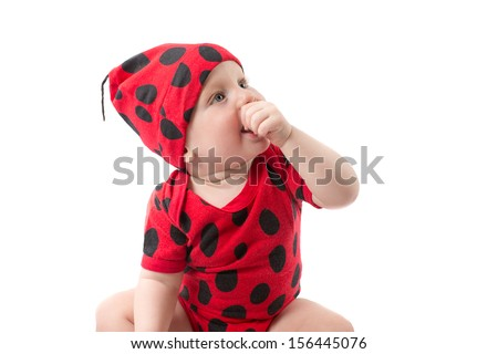 Pretty baby boy, dressed in ladybug costume on white background.  The concept of childhood and holiday - stock photo