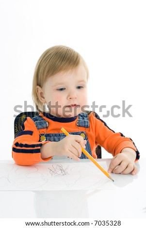 pretty baby draw color pencil  over white background