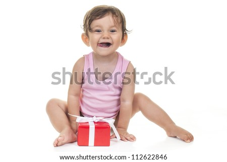 pretty baby with red gift box on white background