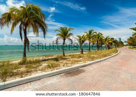 Pretty beach along the Rickenbacker Causeway in Key Biscayne in Miami. - stock photo