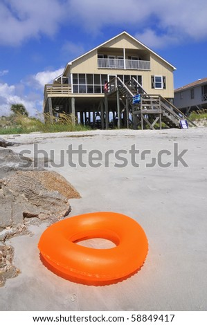 Pretty beach scene perfect for cover art - stock photo