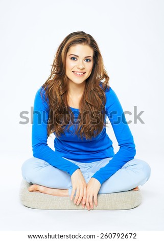 Pretty beautiful woman portrait in sitting pose. Full body. White background isolated. - stock photo