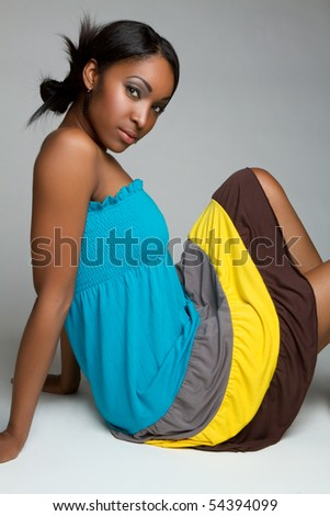 Pretty black girl - stock photo