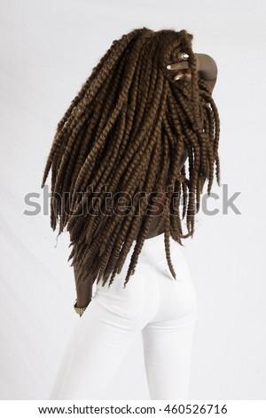 Pretty black woman with long dreadlocks  - stock photo