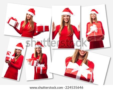pretty blond girl christmas concept - stock photo