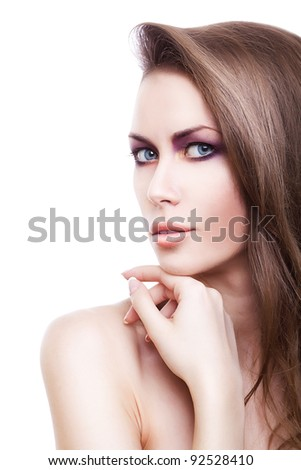 pretty blond woman with long hair on white background