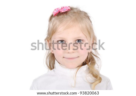 Pretty blonde little girl portrait - stock photo