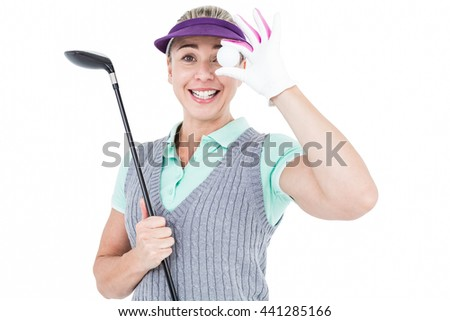 Pretty blonde playing golf on white background - stock photo