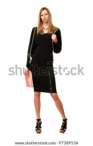 Pretty blonde with the pda and folder - stock photo