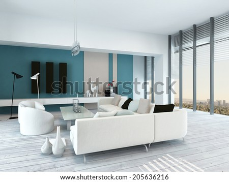 Pretty blue and white living room interior with rustic white painted wooden floorboards, a modern modular white lounge suite, view windows and blue accent wall - stock photo