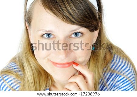 pretty blue eyed girl, isolated on white - stock photo