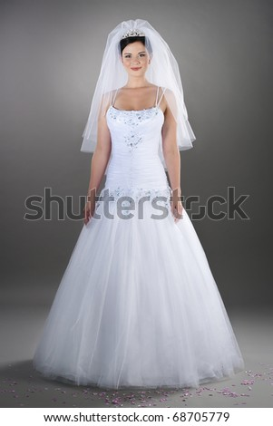 pretty brunette bride wearing white wedding gown and veil - stock photo