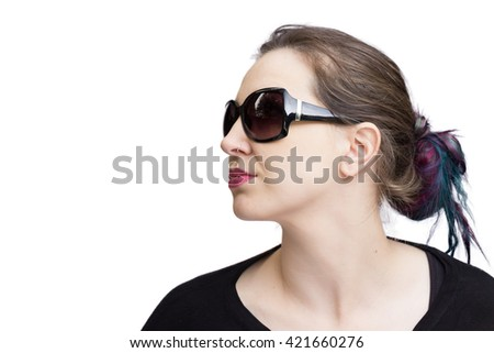 Pretty brunette, caucasian woman with dark glasses, isolated on a white background