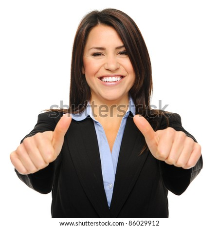 Pretty brunette in formal business attire giving the thumbs up, isolated on white - stock photo