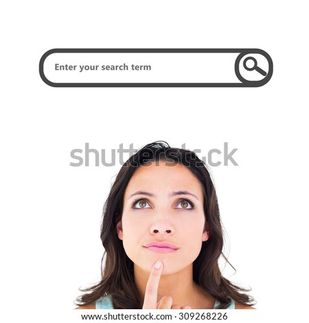 Pretty brunette looking up thoughfully against search engine - stock photo