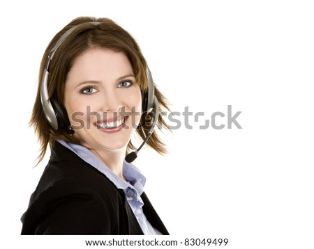 pretty brunette wearing headset on white isolated background - stock photo