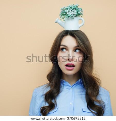Pretty brunette woman fooling around - stock photo