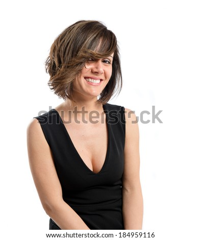 Pretty brunette woman isolated over white background