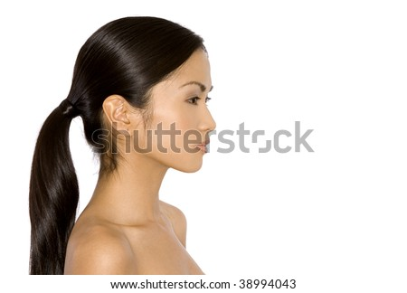 pretty brunette woman posing on white isolated background - stock photo