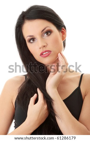 Pretty brunette woman wearing dress, isolated on white background - stock photo