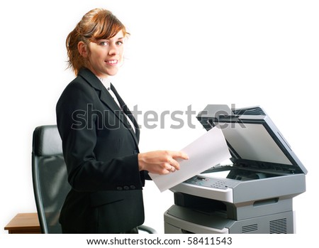 Pretty business lady or student copying documents