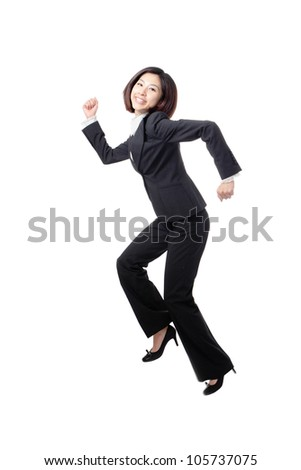 pretty business woman happy running and jump very fast in full length isolated on white background, model is a asian beauty