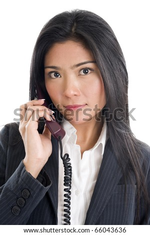 pretty business woman on the phone, isolated on white background