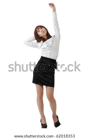 Pretty business woman relaxing, full length portrait isolated on white. - stock photo