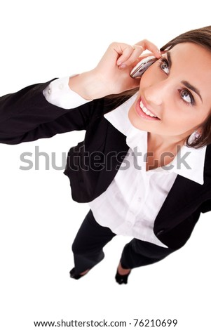 pretty business woman talking on  phone, isolate on white - stock photo