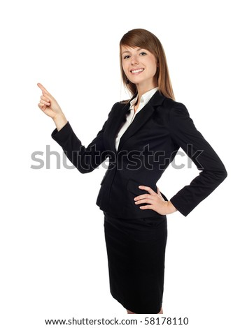 Pretty businesswoman pointing. Isolated on white.