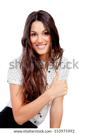Pretty businesswoman saying Ok isolated on a white background - stock photo