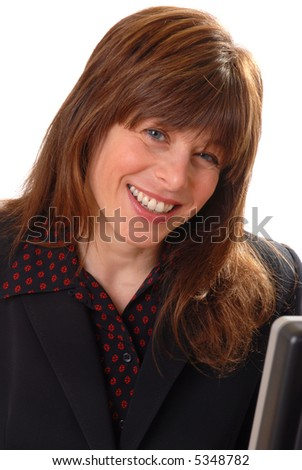 pretty businesswoman with computer, isolated on white, vertical - stock photo