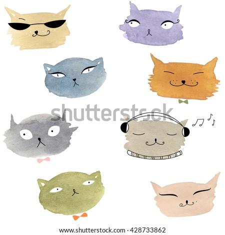Pretty cat pattern. Cats fabric swatch. Trendy kitten background. Cute children cat animals illustration. Watercolor cat emoji icons. Hand drawn seamless wallpaper. - stock photo