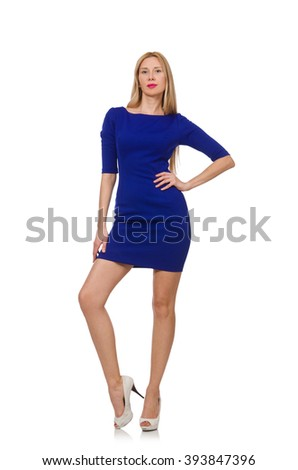Pretty caucasian girl in blue dress isolated on white - stock photo