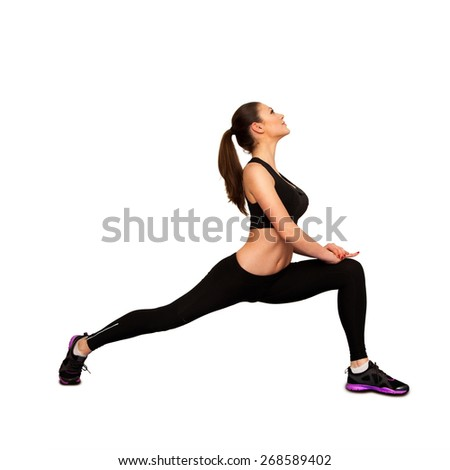 Pretty caucasian woman doing fitness isolated on white background