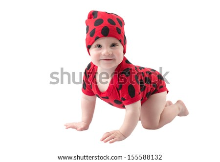 Pretty child boy, dressed in ladybug costume on white background.  The concept of childhood and holiday - stock photo