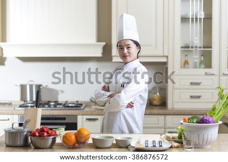 Pretty Chinese cook at work