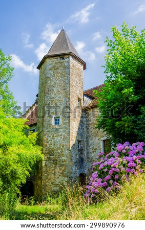 Pretty church in Salies de Bearn - stock photo