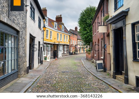 Pretty cobbled streets at Elm Hill in Norwich, Norfolk - stock photo